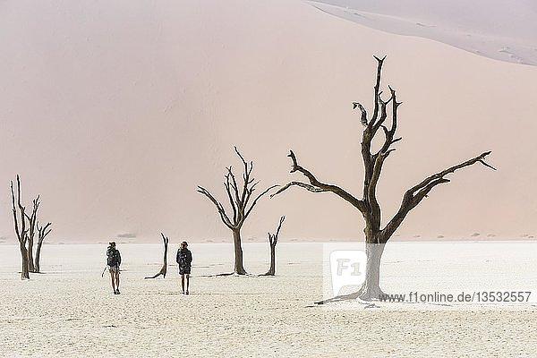 Touristen im Deadvlei  Sossusvlei  Namibia  Afrika