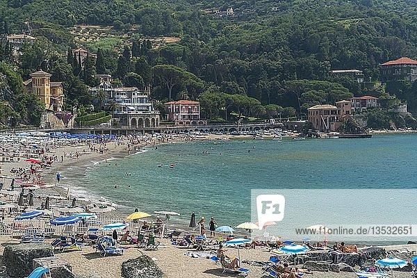 Touristen am Strand von Levanto  Riviera di Levante  Ligurien  Italien  Europa