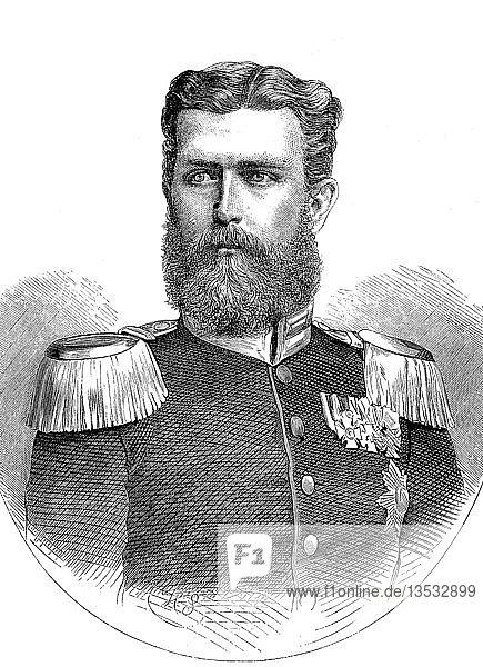Leopold  Prinz von Hohenzollern  Leopold Stephan Karl Anton Gustav Eduard Tassilo Fürst von Hohenzollern  22. September 1835  8. Juni 1905  Holzschnitt  Portrait  Deutschland  Europa