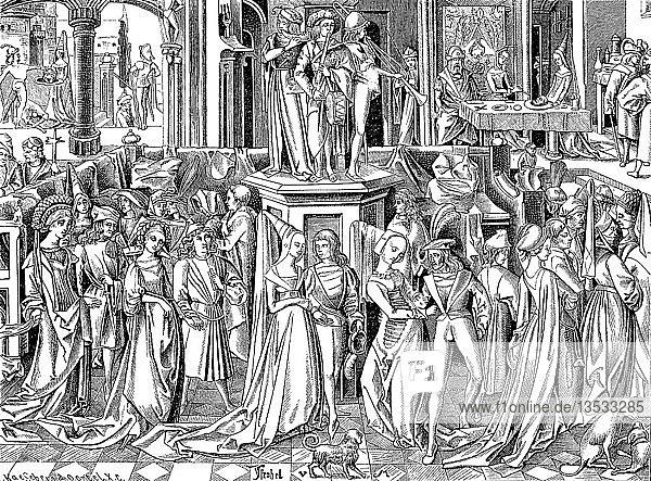 Stadtleben im 15. Jahrhundert  bei einem patrizischen Tanzfestival  die Oberschicht  bestehend aus Mitgliedern des niederen Adels  wohlhabenden Kaufleuten und Ministerien  Holzschnitt  Land unbekannt