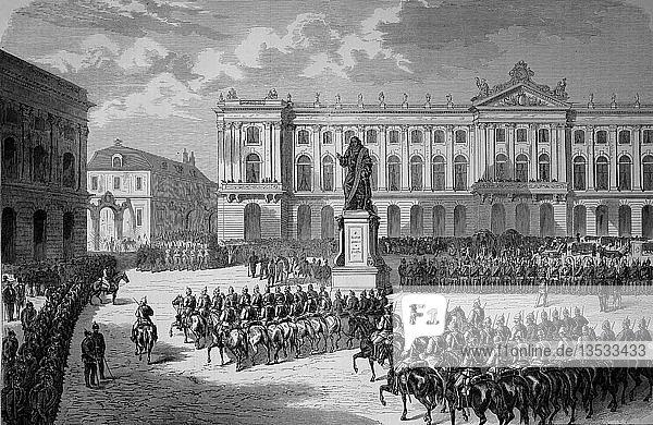 Ankunft der preußischen Truppen am Stanislausplatz in Danzig am 15. August  Deutsch-Französischer Krieg 1870/71  Holzschnitt  Polen  Europa