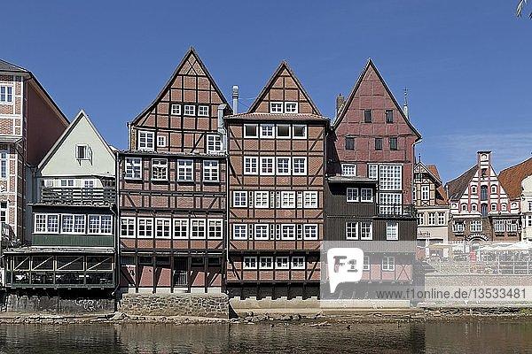 Historische Fachwerkhäuser am Stintmarkt  Altstadt  Lüneburg  Niedersachsen  Deutschland  Europa