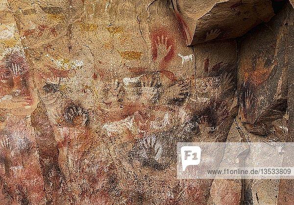 Cueva de las Manos  UNESCO-Weltkulturerbe  Rio Pinturas Canyon  Provinz Santa Cruz  Patagonien  Argentinien  Südamerika