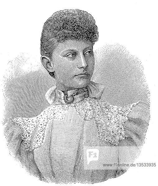 Prinzessin Feodora Victoria Adelaide von Hohenlohe-Langenburg  1839 bis 1872  Holzschnitt  Deutschland  Europa