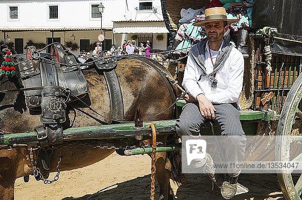 Pilger an seinem verzierten Wagen  Pfingsten  Wallfahrt von EL Rocio  Huelva-Provinz  Andalusien  Spanien  Europa