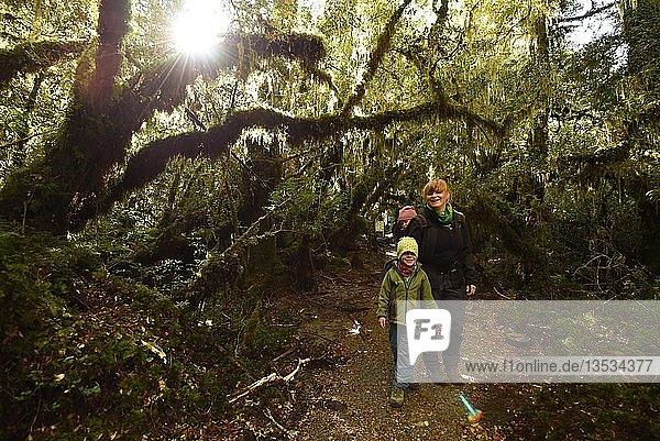 Mother with child hiking in El Bosque Encantado  temperate rainforest with moss and lichen  Carretera Austral  Queulat National Park  Cisnes  Región de Aysén  Chile  South America