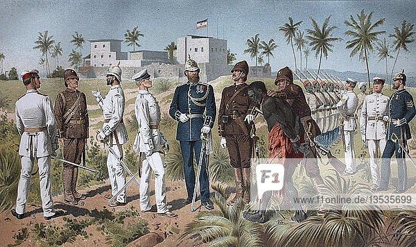 Verschiedene Uniformen der Schutztruppe  koloniale Truppen in den afrikanischen Gebieten des Deutschen Kolonialreichs vom Ende des 19. Jahrhunderts bis 1918  Deutschland  Europa