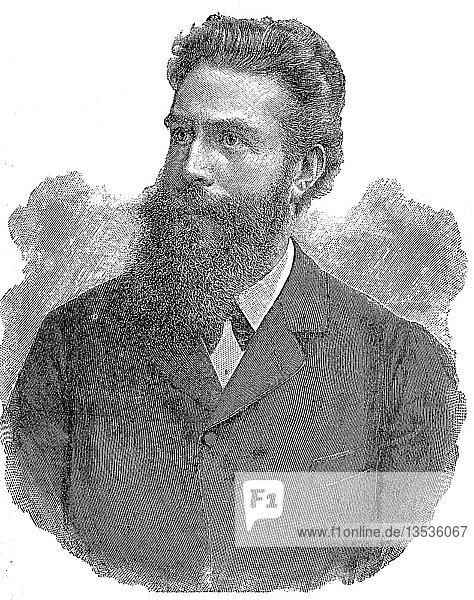 Wilhelm Conrad Röntgen  1845  1923  Deutscher Physiker  1895  Holzschnitt  Deutschland  Europa