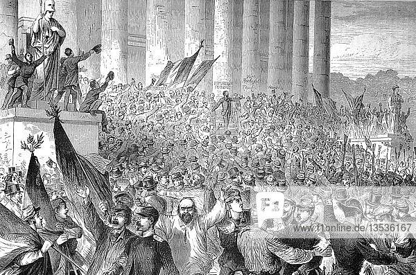 Die Proklamation der Französischen Republik durch Gambetta vor dem Palast des Gesetzgebers in Paris am 4. September  Deutsch-Französischer Krieg 1870/71  Holzschnitt  Frankreich  Europa