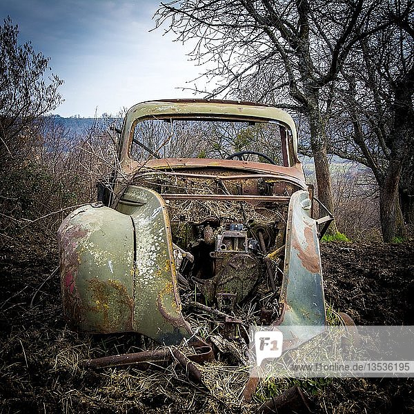 Old truck carcass rusty and boned amidst fields in winter  Auvergne  France  Europe