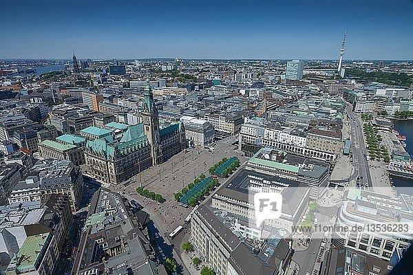 Ausblick auf Altstadt mit Rathaus  Hamburg  Deutschland  Europa