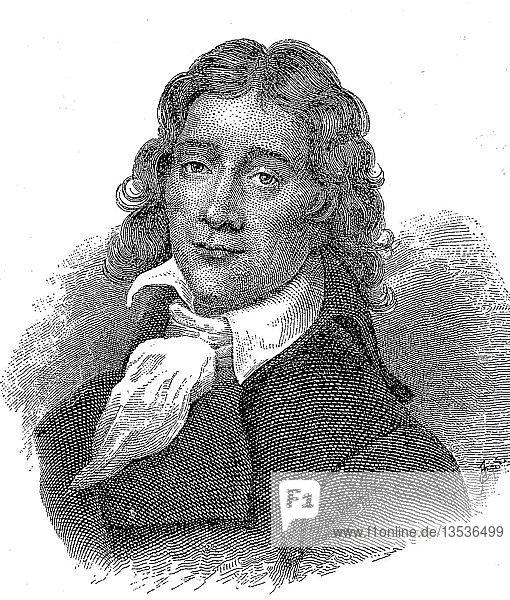 Portrait von Benoit Camille Desmoulins  2. März 1760  5. April 1794  französischer Rechtsanwalt  Journalist und Politiker  Holzschnitt  Frankreich  Europa