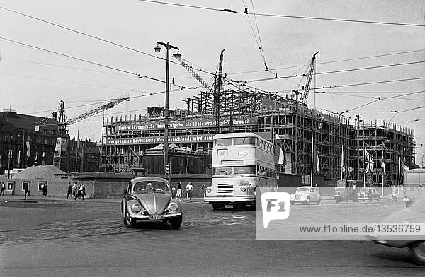Baustelle Oper  1956-1959  Karl-Marx-Platz heute Augustusplatz  Leipzig  Sachsen  DDR  Deutschland  Europa