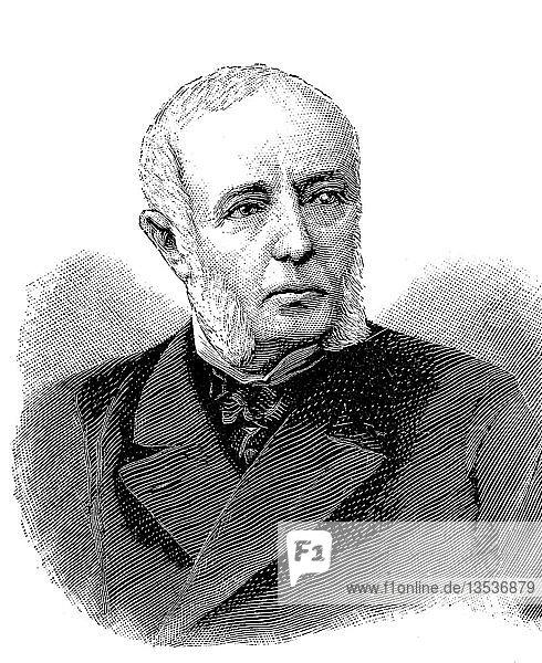 René Goblet  26. November 1828  13. September 1905  französischer Politiker  41. Premierminister von Frankreich 1886-1887  Holzschnitt aus dem Jahr 1888  Deutschland  Europa