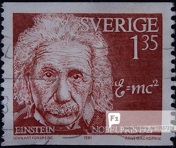 Albert Einstein  ein deutscher theoretischer Physiker  Porträt auf einer schwedischen Briefmarke  Schweden  Europa