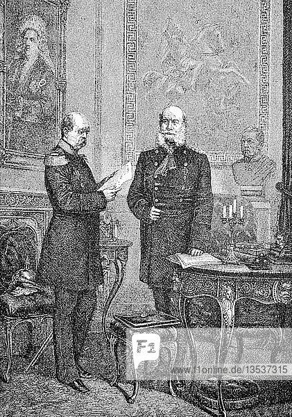 Der Kaiser und sein Kanzler,  Wilhelm I. oder Wilhelm I.,  voller Name ist Wilhelm Friedrich Ludwig von Hohenzollern,  König von Preußen und der erste deutsche Kaiser,  Reproduktion einer Holzschnitt-Publikation aus dem Jahr 1888,  Deutschland,  Europa