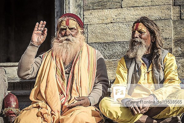 Sadhus  Asketen  heilige Männer  Pashupatinath  Kathmandu  Nepal  Asien