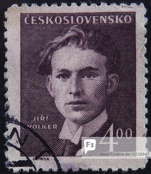 Jiri Volker  ein kroatischer Dichter  Porträt auf einer tschechoslowakischen Briefmarke  Schweden  Europa