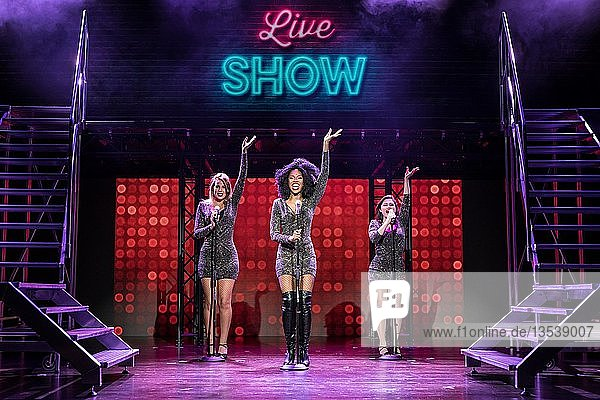 From left Channelle Wyrsch as nun and Tina  leading actress Sidonie Smith as Deloris van Cartier and Annemarie Lauretta as nun  Michelle & Cover Deloris van Cartier live at Sister Act  Das Musical im Le Théâtre in Emmen  Lucerne  Switzerland  Europe