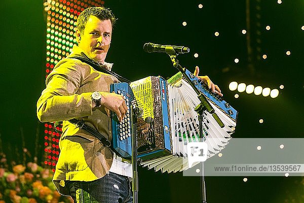 The Austrian pop singer and accordion player Marc Pircher live at the 16th Schlager Nacht in Lucerne  Switzerland  Europe