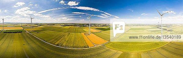 Panorama  Luftaufnahme  Windpark und Getreidefelder  Region Alzey  Rheinland-Pfalz  Deutschland  Europa