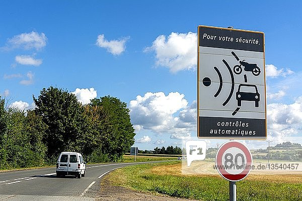 Sign of speed limit reduced to 80 km/hour and radar speed check  France  Europe