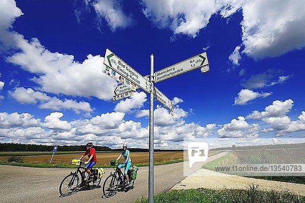 Wegweiser  Radfahrer bei Sandharlanden  Ostbayern  Niederbayern  Bayern  Deutschland  Europa
