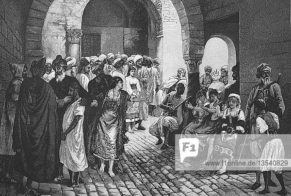Sklavenmarkt,  spanische und italienische Gefangene werden von den Korsaren verkauft,  Holzschnitt,  1888,  Spanien,  Europa