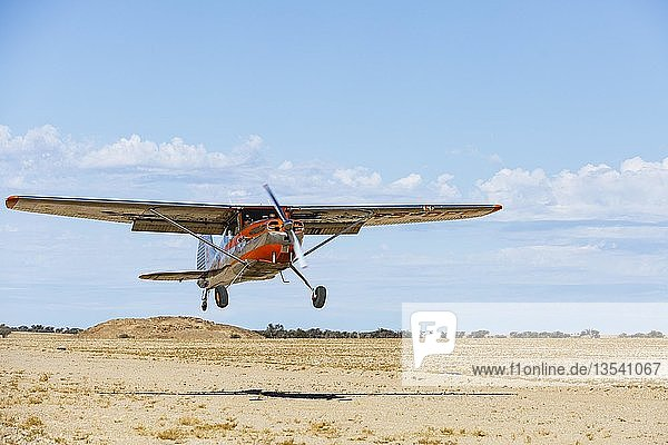 Cessna 170 landet auf einer Sandpiste  Flugfeld Ganab  Namib-Naukluft-Nationalpark  Region Erongo  Namibia  Afrika