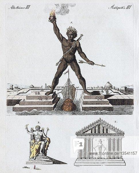 Koloss von Rhodos  sieben Weltwunder  handkolorierter Kupferstich aus Friedrich Justin Bertuch Bilderbuch für Kinder  1801  Weimar  Deutschland  Europa