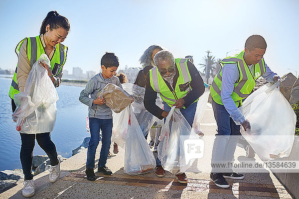 Volunteers cleaning up waterfront litter