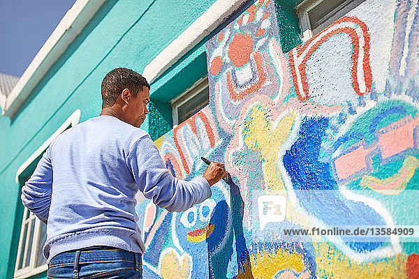 Male volunteer painting vibrant mural on sunny wall