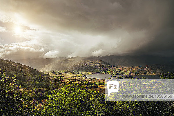 Tranquil  majestic view of clouds over sunny remote landscape  Kerry  Ireland