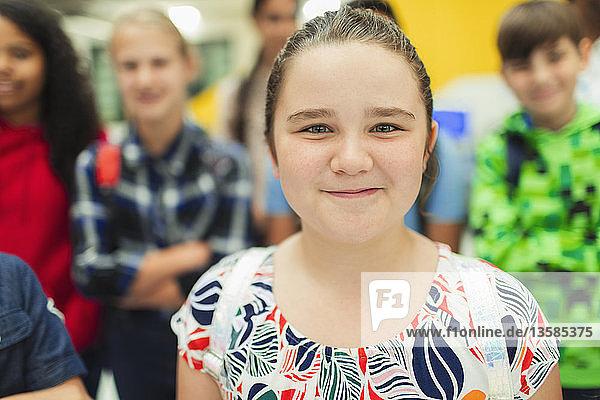 Portrait confident junior high girl student Portrait confident junior high girl student