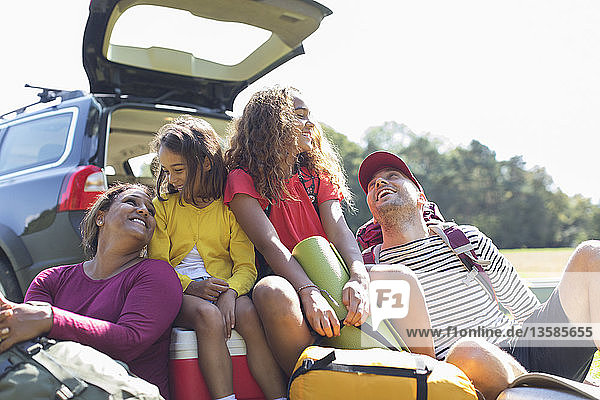 Happy family with camping equipment at back of car