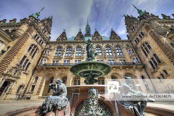Rathaus und Hygieia-Brunnen  Hamburg  Deutschland  Europa