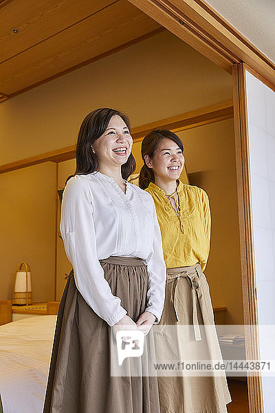 Japanese women at a traditional hotel