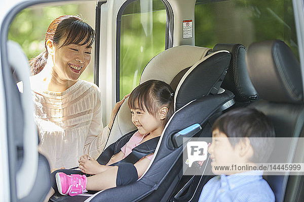 Japanese family in the car