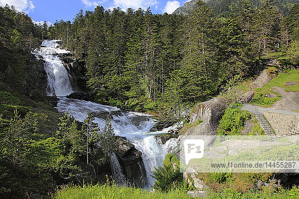 France  Occitanie (Midi Pyrenees )  Hautes Pyrenees (65)  Cauterets  Pont d'espagne waterfall (Pyrenees national park)