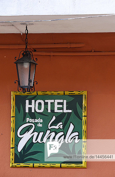 Hotel posada de la jungla sign in Flores  Peten  Guatemala  Central America.