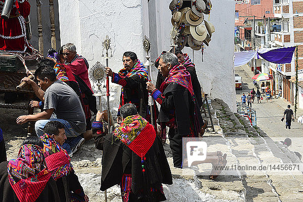 Mayan priest at Chichicastenango  Guatemala  Central America.