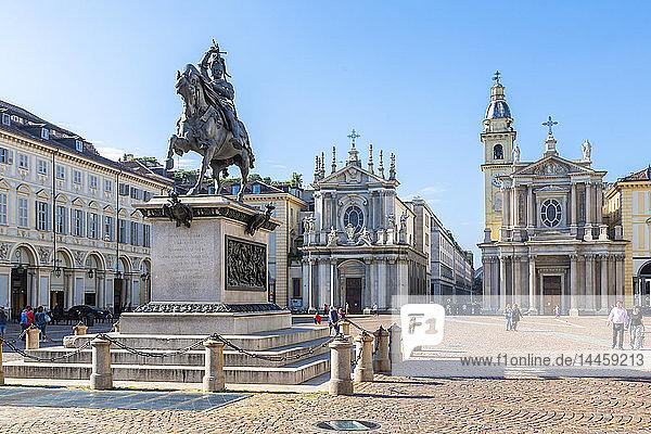 View of Emanuele Filiberto statue in Piazza San Carlo  Turin  Piedmont  Italy