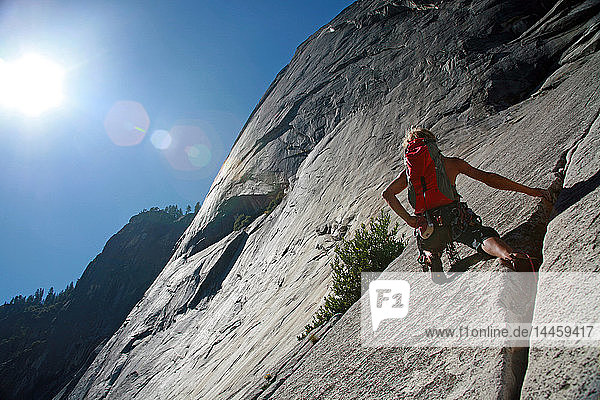 Rock climber in action in Yosemite Valley  California  United States of America  North America