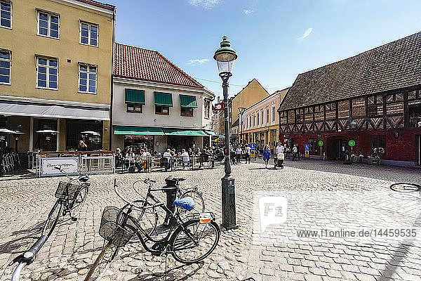 Lilla Torg or the small square in the old city  Malmo  Skane county  Sweden