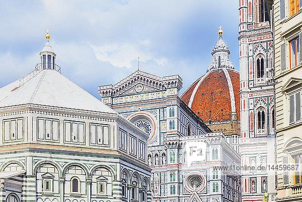 View of Unesco's Duomo Santa Maria del Fiore  Giotto's Campanile and Brunelleschi's dome  Florence  Tuscany  Italy