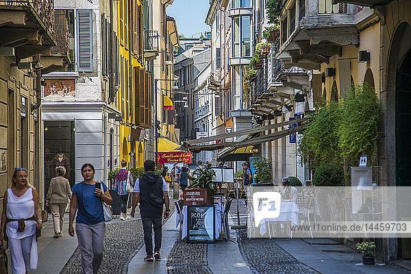 Restaurants and bars and colourful architecture on Via Fiori Chiari in Brera District  Milan  Lombardy  Italy