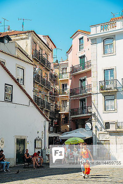 Entrance to the Bohemian district of Alfama in Old Lisbon  Portugal