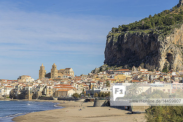 The cathedral and the old town seen from the beach  Cefalu  Sicily  Italy