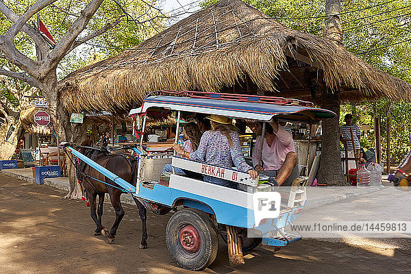 Horse carts (cidomos) used for transportation on the Gili Islands  Indonesia  Southeast Asia