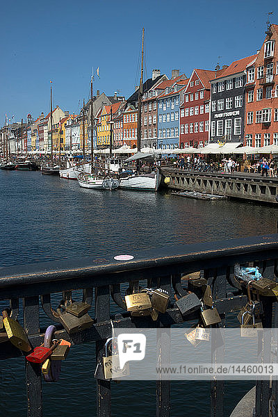 Lovers Locks on the bridge at Nyhavn  Copenhagen  Denmark  Scandinavia